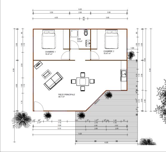 Plan AVANA - Maison en bois avec ossature acier de type F3 de 97.21m²