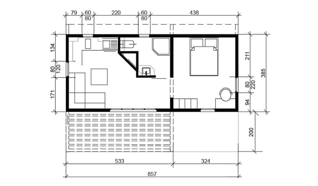 Plan BANGALO – Bungalow en bois avec ossature acier de type F2 de 33 m²