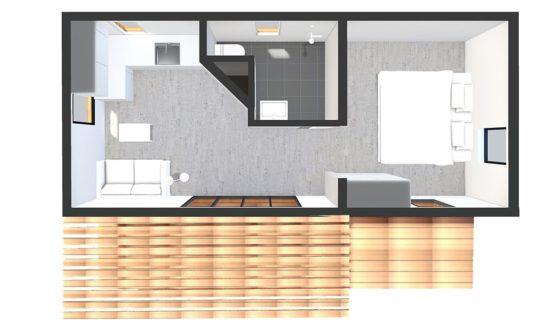 Plan 3D BANGALO – Bungalow en bois avec ossature acier de type F2 de 33 m²