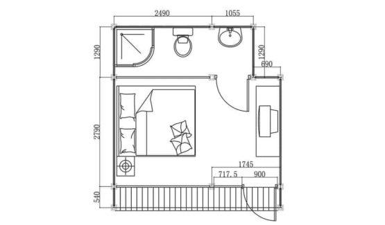 Plan BUNGALOW ÉCO-JARDIN – Bungalow en ossature acier de type studio de 19 m²