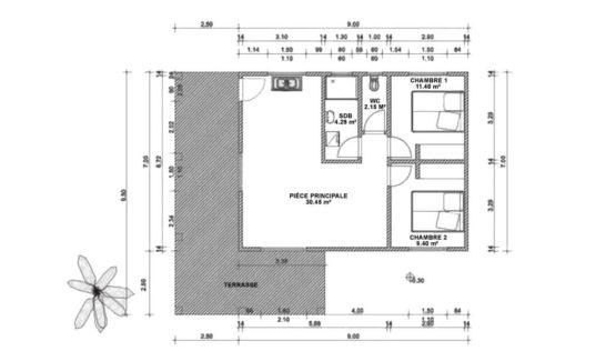 Plan CORIA – Maison à ossature métallique de type F3 de 95 m²