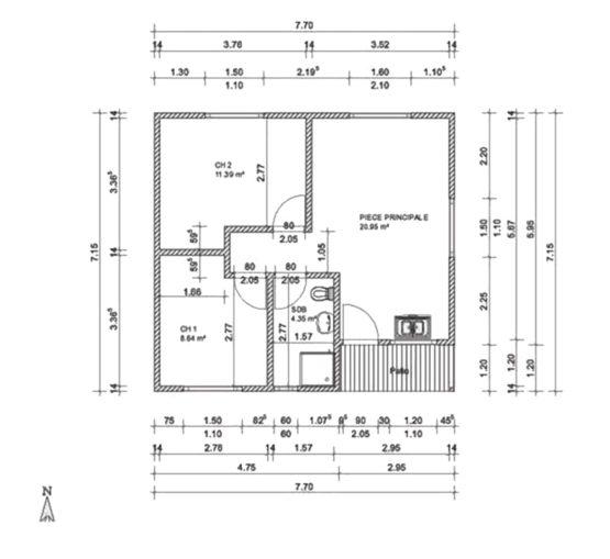 Plan ISABELLE – Villa en ossature acier de type F2/3 de 55 m²