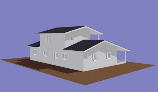 LETANE – Vue arrière villa à ossature métallique de type F6 de 267 m²