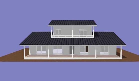 LETANE – Vue de face villa à ossature métallique de type F6 de 267 m²
