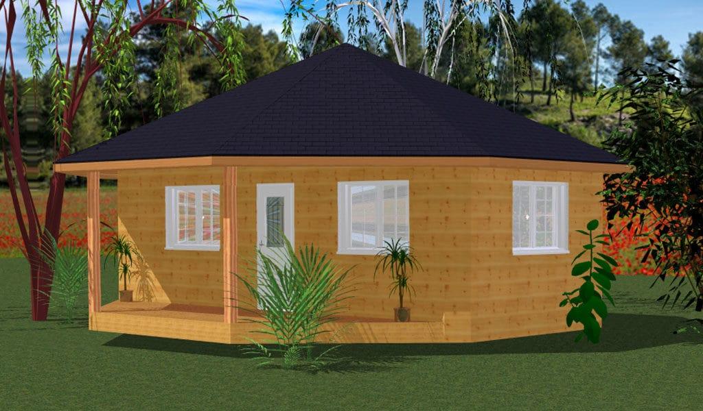 MELANESIE – Bungalow en bois avec madriers de type F2 de 59 m²