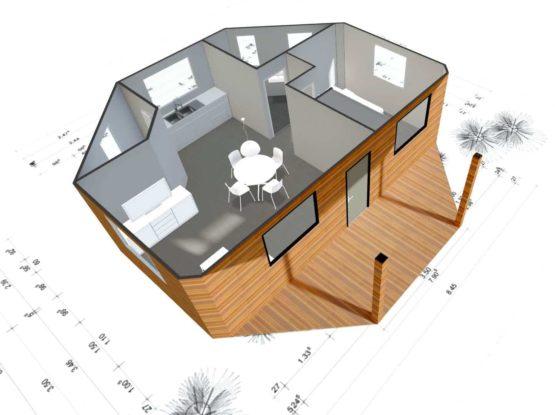 Plan 3D MELANESIE – Bungalow en bois avec madriers de type F2 de 59 m²