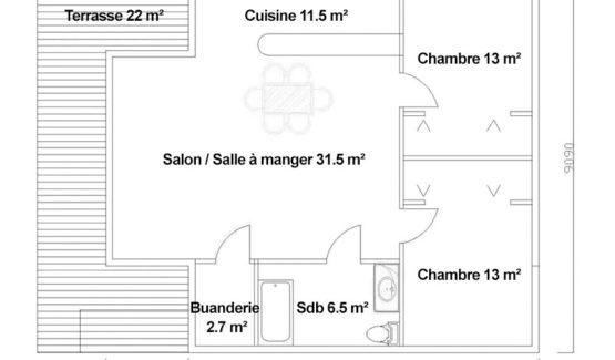 Plan PERLA – Maison en bois avec ossature métallique de type F3 de 107 m²