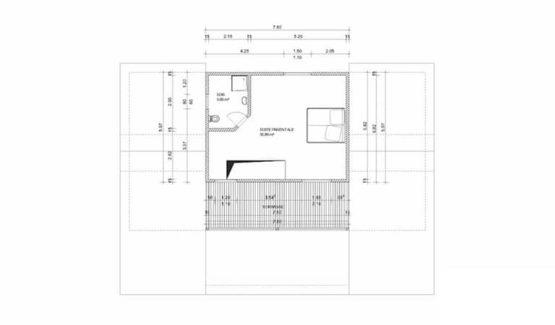 Plan étage ETANE – Villa à ossature métallique de type F6 de 267 m²