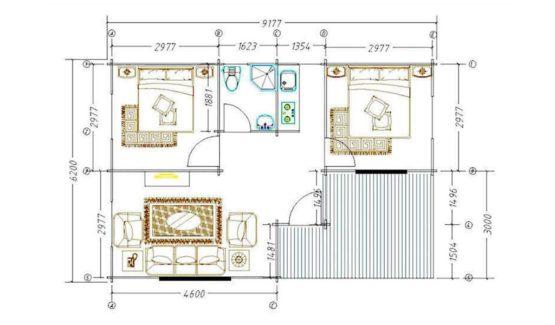Plan PHILIPPINE - Maison en bois avec madriers de type F3 de 55 m²