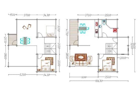Plan ESTATE – Maison en bois avec madriers type F4 de 139 m²