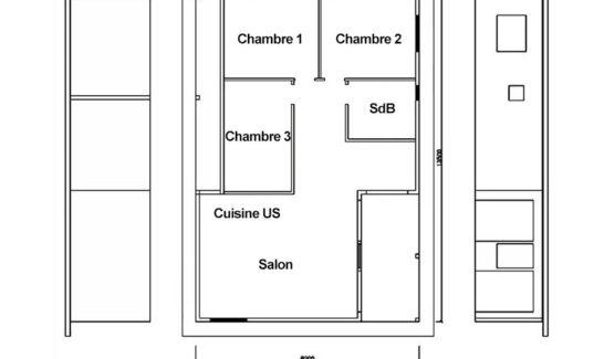 Plan VICTORIA – Maison en bois avec ossature acier de type F4 de 103 m²